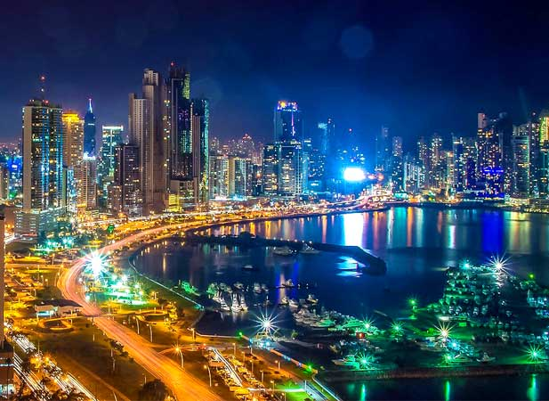 Panama City at nighttime
